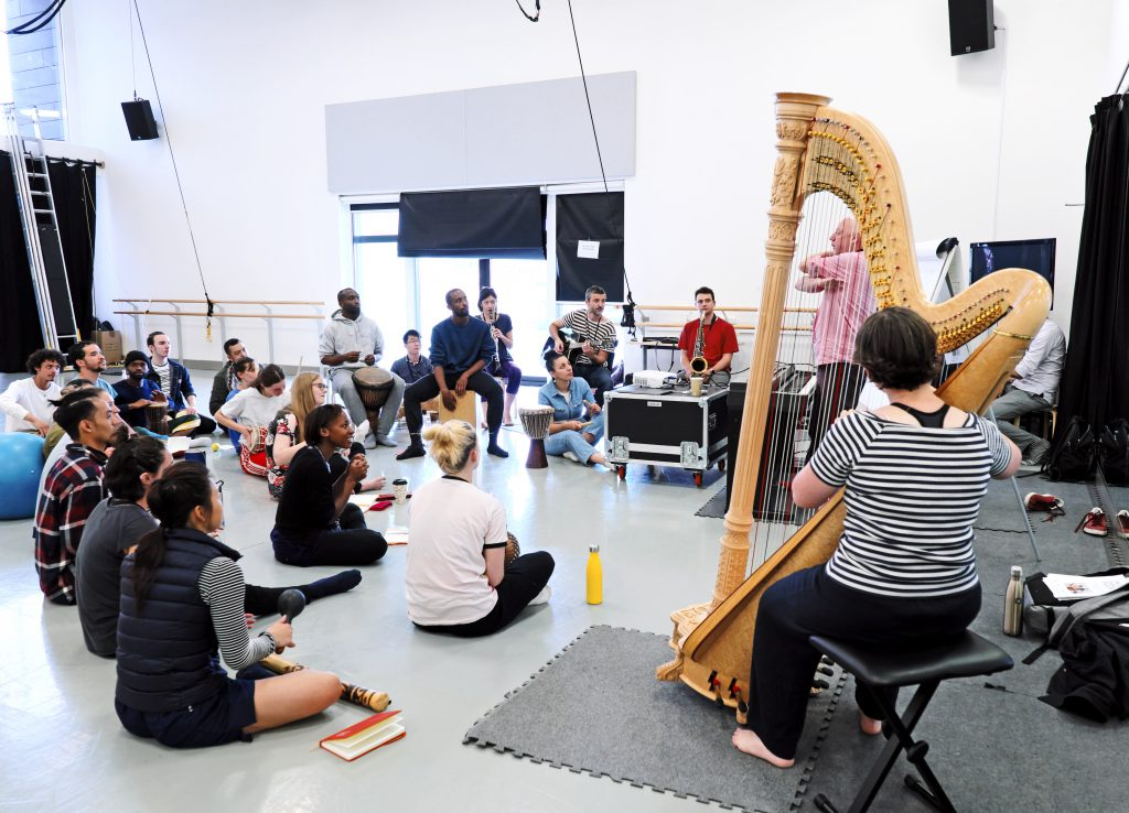 A group of dance artists and musicians participate in Phoenix Dance Theatre's Choreographic and Composer  Labs 2019. A large group of participants sit on the floor of a dance studio as they listen to a gentleman in a pink shirt give them more information. There is a harpist, saxophonist, guitar player and clarinet player in the photograph.