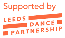 Supported by Leeds Dance Partnership logo in orange.