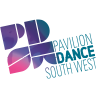 The Pavilion Dance South West logo. The logo features a cube of the letters PDSW in purples and pinks. To the right of this reads 'Pavilion Dance South West'